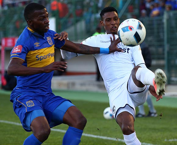 Vincent Pule of Bidvest Wits challenged by Thamsanqa Mkhize of Cape Town City during the Absa Premiership 2017/18 football match between Cape Town City FC and Bidvest Wits at Athlone Stadium, Cape Town on 24 February 2018 ©Chris Ricco/BackpagePix