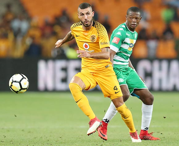 Daniel Cardoso of Kaizer Chiefs challenged by Ndumiso Mabena of Bloemfontein Celtic during the Absa Premiership 2017/18 match between Kaizer Chiefs and Bloemfontein Celtic at FNB Stadium, Johannesburg South Africa on 24 February 2018 ©Muzi Ntombela/BackpagePix