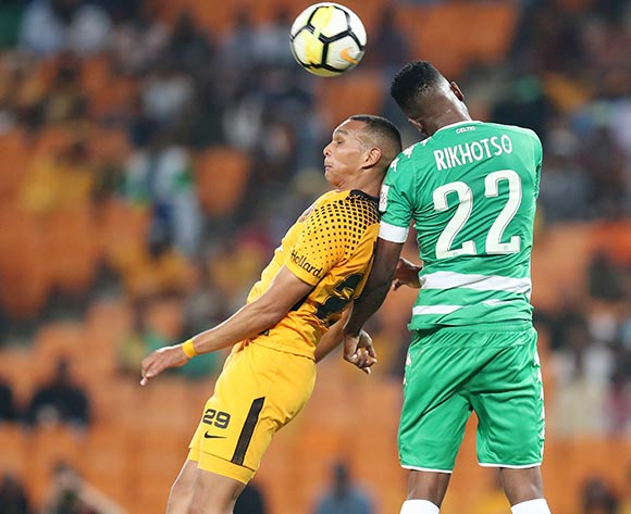 Tshepo Rikhotso of Bloemfontein Celtic clears ball from Ryan Moon of Kaizer Chiefs during the Absa Premiership 2017/18 match between Kaizer Chiefs and Bloemfontein Celtic at FNB Stadium, Johannesburg South Africa on 24 February 2018 ©Muzi Ntombela/BackpagePix