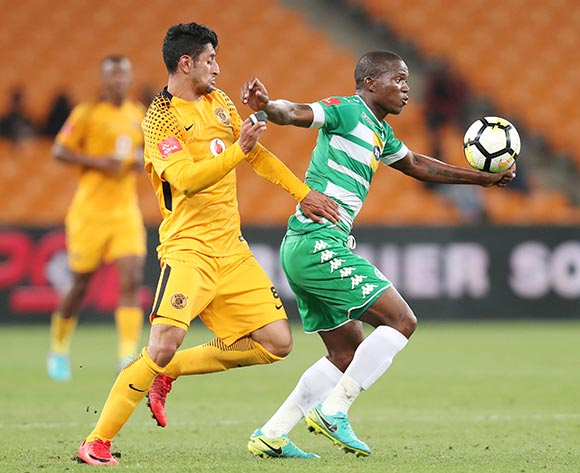 Lantshene Phalane of Bloemfontein Celtic challenged by Leonardo Castro of Kaizer Chiefs during the Absa Premiership 2017/18 match between Kaizer Chiefs and Bloemfontein Celtic at FNB Stadium, Johannesburg South Africa on 24 February 2018 ©Muzi Ntombela/BackpagePix