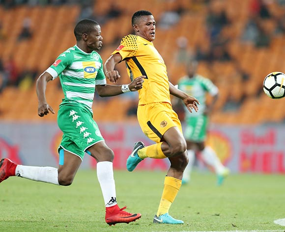 Siyabonga Ngezana of Kaizer Chiefs challenged by Ndumiso Mabena of Bloemfontein Celtic during the Absa Premiership 2017/18 match between Kaizer Chiefs and Bloemfontein Celtic at FNB Stadium, Johannesburg South Africa on 24 February 2018 ©Muzi Ntombela/BackpagePix