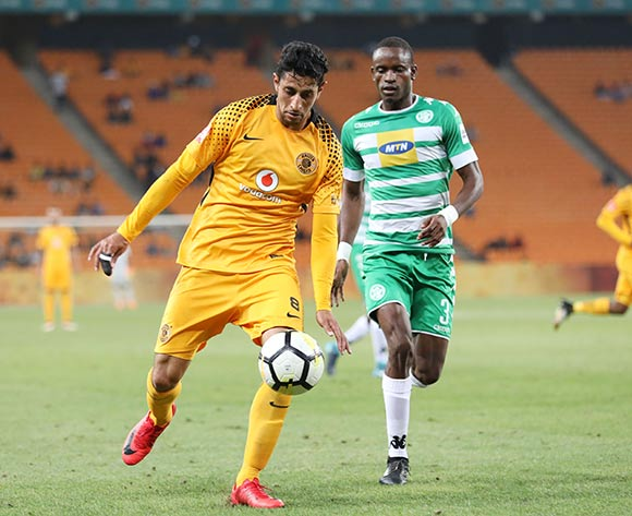 Leonardo Castro of Kaizer Chiefs challenged by Ronald Pfumbidzai of Bloemfontein Celtic during the Absa Premiership 2017/18 match between Kaizer Chiefs and Bloemfontein Celtic at FNB Stadium, Johannesburg South Africa on 24 February 2018 ©Muzi Ntombela/BackpagePix