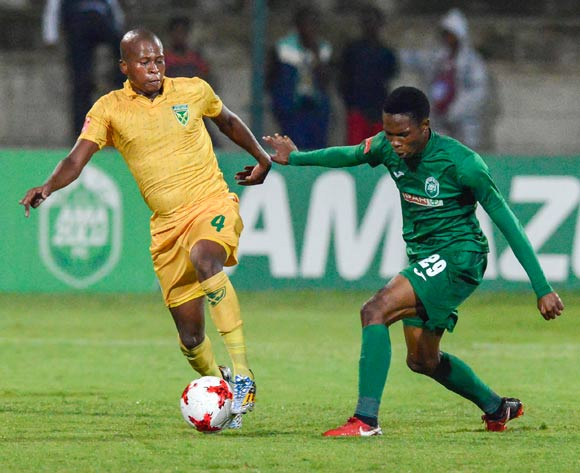 Sibusiso Mabiliso of AmaZulu FC challenges Danny Venter of Lamontville Golden Arrows during the Absa Premiership 2017/18 match between AmaZulu and Golden Arrows at King Zwelithini Stadium in KwaZulu Natal, South Africa on 03 February 2018 ©Gerhard Duraan/BackpagePix
