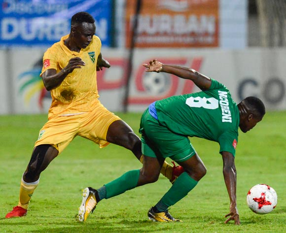 Limbikani Mzava of Lamontville Golden Arrows and Jabulani Ncobeni of AmaZulu FC both try and get to the ball during the Absa Premiership 2017/18 match between AmaZulu and Golden Arrows at King Zwelithini Stadium in KwaZulu Natal, South Africa on 03 February 2018 ©Gerhard Duraan/BackpagePix