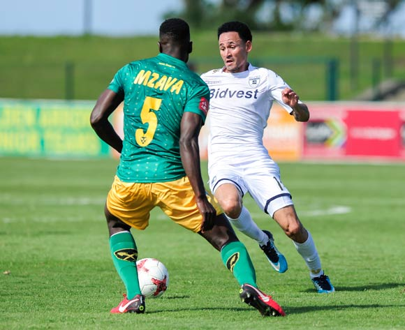Limbikani Mzava of Lamontville Golden Arrows challenges Daylon Claasen of Bidvest Wits during the Absa Premiership 2017/18 game between Golden Arrows and Bidvest Wits at Princess Magogo Stadium, Kwa-Zulu Natal on 17 February 2018 © Gerhard Duraan/BackpagePix