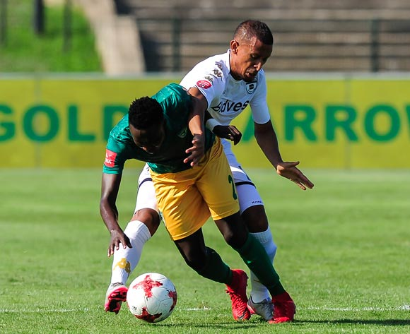 Nazeer Allie of Bidvest Wits and Zolani Nkombelo of Lamontville Golden Arrows both try and get to the ball during the Absa Premiership 2017/18 game between Golden Arrows and Bidvest Wits at Princes Magogo Stadium, Kwa-Zulu Natal on 17 February 2018 © Gerhard Duraan/BackpagePix