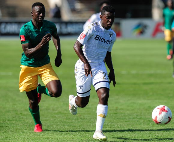 Limbikani Mzava of Lamontville Golden Arrows chases hard  to catch Sifiso Myeni of Bidvest Wits during the Absa Premiership 2017/18 game between Golden Arrows and Bidvest Wits at Princes Magogo Stadium, Kwa-Zulu Natal on 17 February 2018 © Gerhard Duraan/BackpagePix