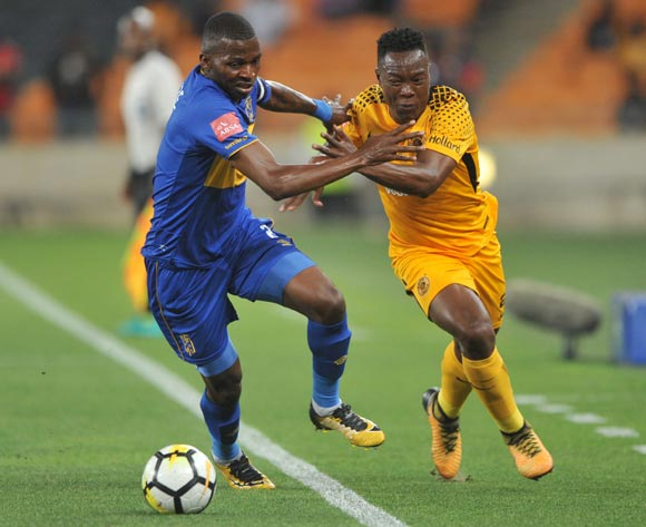 Philani Zulu of Kaizer Chiefs is challenged by Thamsanqa Mkhize of Cape Town City during the Absa Premiership match between Kaizer Chiefs and Cape Town City on 17 February 2018 at  FNB Stadium Pic Sydney Mahlangu/BackpagePix