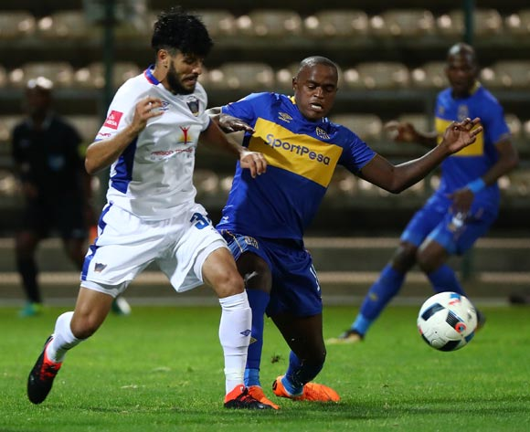 Ayanda Patosi of Cape Town City battles for the ball with Fares Hachi of Chippa United during the Absa Premiership 2017/18 football match between Cape Town City FC and Chippa United at Athlone Stadium, Cape Town on 2 March 2018 ©Chris Ricco/BackpagePix