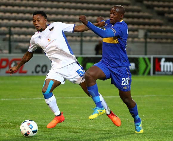 Ayabulela Konqobe of Chippa United battles for the ball with Judas Moseamedi of Cape Town City during the Absa Premiership 2017/18 football match between Cape Town City FC and Chippa United at Athlone Stadium, Cape Town on 2 March 2018 ©Chris Ricco/BackpagePix