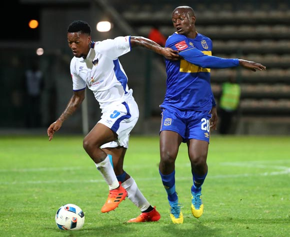 Ayabulela Konqobe of Chippa United evades challenge from Judas Moseamedi of Cape Town City during the Absa Premiership 2017/18 football match between Cape Town City FC and Chippa United at Athlone Stadium, Cape Town on 2 March 2018 ©Chris Ricco/BackpagePix
