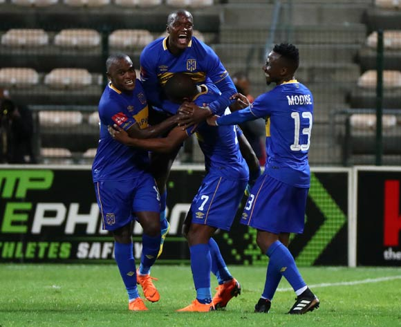 Lyle Lakay of Cape Town City celebrates goal with teammates during the Absa Premiership 2017/18 football match between Cape Town City FC and Chippa United at Athlone Stadium, Cape Town on 2 March 2018 ©Chris Ricco/BackpagePix