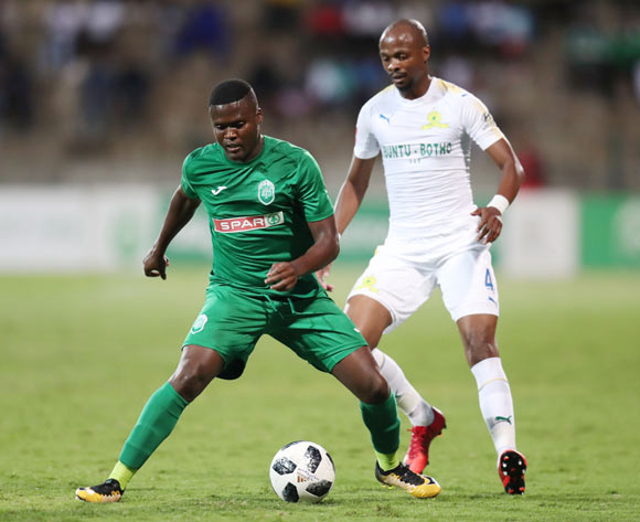 Jabulani Ncobeni of AmaZulu challenged by Tebogo Langerman of Mamelodi Sundowns during the Absa Premiership 2017/18 match between AmaZulu and Mamelodi Sundowns at King Zwelithini Stadium, Umlazi South Africa on the 02 March 2018 ©Muzi Ntombela/BackpagePix