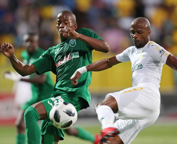 Tebogo Langerman of Mamelodi Sundowns challenged by Phumlani Gumede of AmaZulu during the Absa Premiership 2017/18 match between AmaZulu and Mamelodi Sundowns at King Zwelithini Stadium, Umlazi South Africa on the 02 March 2018 ©Muzi Ntombela/BackpagePix