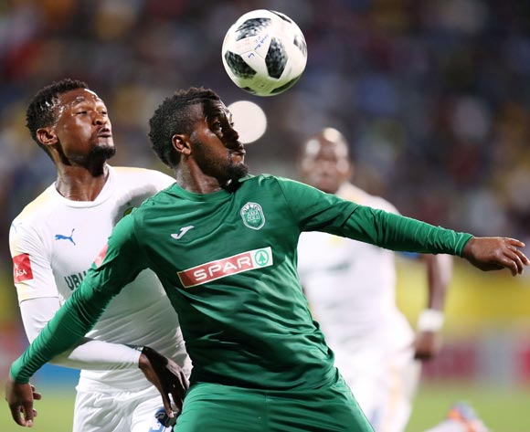 Mabhuti Khenyeza of AmaZulu challenged by Motjeka Madisa of Mamelodi Sundowns during the Absa Premiership 2017/18 match between AmaZulu and Mamelodi Sundowns at King Zwelithini Stadium, Umlazi South Africa on the 02 March 2018 ©Muzi Ntombela/BackpagePix