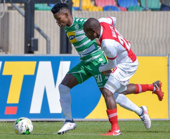 Menzi Masuku of Bloemfontein Celtic and Tercious Malepe of Ajax Cape Town during the Absa Premiership 2017/18 game between Bloemfontein Celtic and Ajax Cape Town at Dr Molemela Stadium, Mangaung on 04 March 2018 © Frikkie Kapp/BackpagePix
