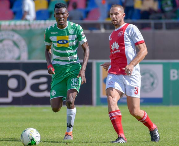 Roscoe Pietersen of Ajax Cape Town and Lucky Baloyi of Bloemfontein Celtic during the Absa Premiership 2017/18 game between Bloemfontein Celtic and Ajax Cape Town at Dr Molemela Stadium, Mangaung on 04 March 2018 © Frikkie Kapp/BackpagePix