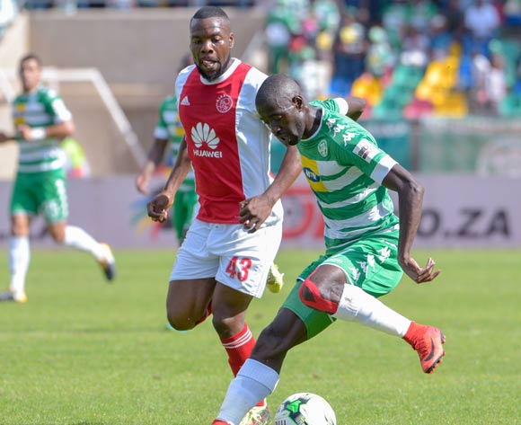 Deon Hotto of Bloemfontein Celtic and Siyanda Zwane of Ajax Cape Town during the Absa Premiership 2017/18 game between Bloemfontein Celtic and Ajax Cape Town at Dr Molemela Stadium, Mangaung on 04 March 2018 © Frikkie Kapp/BackpagePix