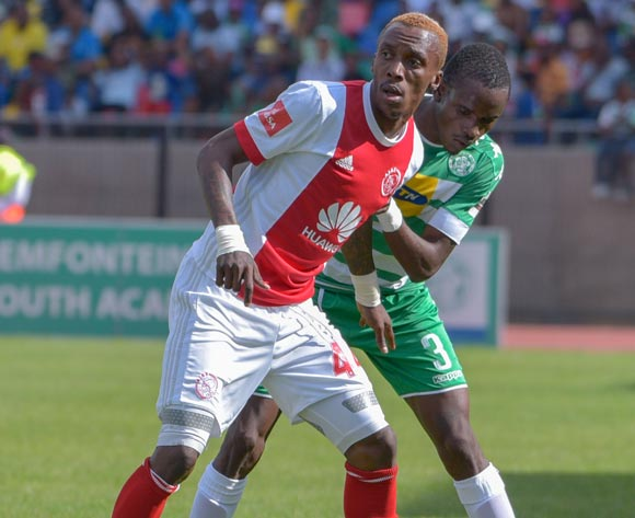 Yannick Zakri of Ajax Cape Town and Ronald Pfumbizai of Bloemfontein Celtic during the Absa Premiership 2017/18 game between Bloemfontein Celtic and Ajax Cape Town at Dr Molemela Stadium, Mangaung on 04 March 2018 © Frikkie Kapp/BackpagePix
