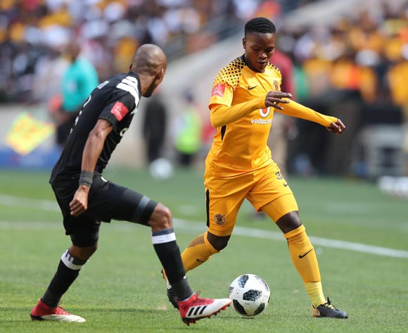 Wiseman Meyiwa of Kaizer Chiefs challenged by Gladwin Shitolo of Orlando Pirates during the 2017/18 Absa Premiership football match between Orlando Pirates and Kaizer Chiefs at Soccer City, Soweto on 03 March 2018 ©Gavin Barker/BackpagePix