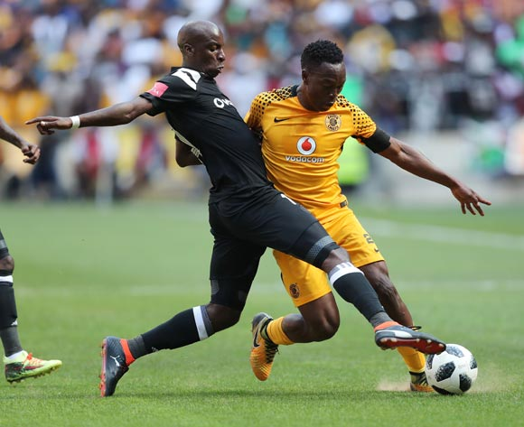 Philani Zulu of Kaizer Chiefs tackled by Musa Nyatama of Orlando Pirates during the 2017/18 Absa Premiership football match between Orlando Pirates and Kaizer Chiefs at Soccer City, Soweto on 03 March 2018 ©Gavin Barker/BackpagePix