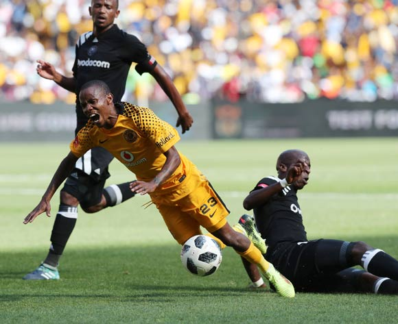 Joseph Molangoane of Kaizer Chiefs tackled by Musa Nyatama of Orlando Pirates during the 2017/18 Absa Premiership football match between Orlando Pirates and Kaizer Chiefs at Soccer City, Soweto on 03 March 2018 ©Gavin Barker/BackpagePix