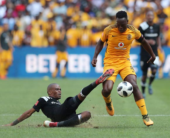 Philani Zulu of Kaizer Chiefs evades tackle from Gladwin Shitolo of Orlando Pirates during the 2017/18 Absa Premiership football match between Orlando Pirates and Kaizer Chiefs at Soccer City, Soweto on 03 March 2018 ©Gavin Barker/BackpagePix