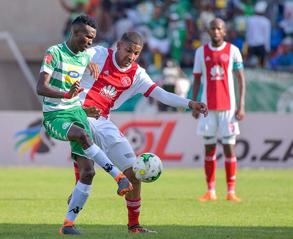 Lucky Baloyi of Bloemfontein Celtic and Morne Nel of Ajax Cape Town during the Absa Premiership 2017/18 game between Bloemfontein Celtic and Ajax Cape Town at Dr Molemela Stadium, Mangaung on 04 March 2018 © Frikkie Kapp/BackpagePix