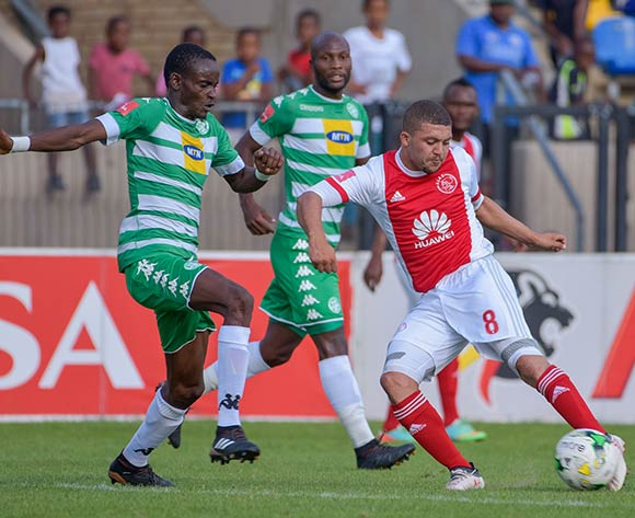 Grant Margeman of Ajax Cape Town and Ronald Pfumbizai of Bloemfontein Celtic during the Absa Premiership 2017/18 game between Bloemfontein Celtic and Ajax Cape Town at Dr Molemela Stadium, Mangaung on 04 March 2018 © Frikkie Kapp/BackpagePix