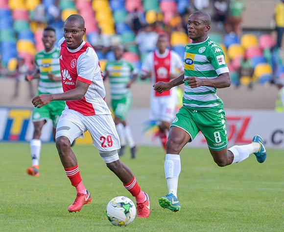 Tercious Malepe of Ajax Cape Town and Latshene Phalane of Bloemfontein Celtic during the Absa Premiership 2017/18 game between Bloemfontein Celtic and Ajax Cape Town at Dr Molemela Stadium, Mangaung on 04 March 2018 © Frikkie Kapp/BackpagePix