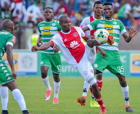 Tercious Malepe of Ajax Cape Town and Lucky Baloyi of Bloemfontein Celtic during the Absa Premiership 2017/18 game between Bloemfontein Celtic and Ajax Cape Town at Dr Molemela Stadium, Mangaung on 04 March 2018 © Frikkie Kapp/BackpagePix