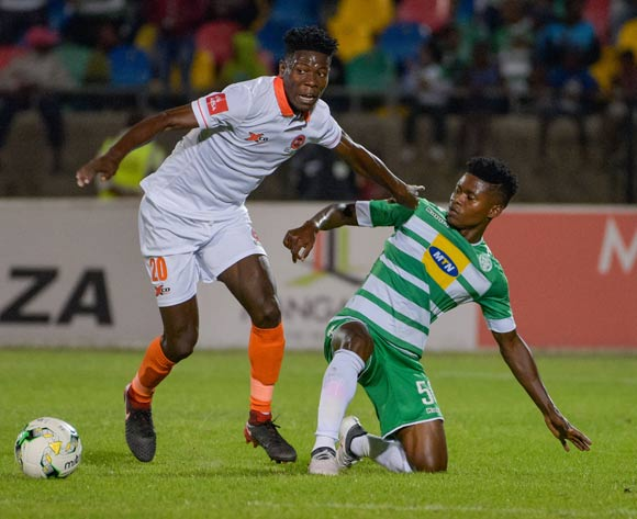 Salulani Phiri of Polokwane City and Menzi Masuku of Bloemfontein Celtic during the Absa Premiership 2017/18 game between Bloemfontein Celtic and Polokwane City at Dr Molemela Stadium, Mangaung on 07 March 2018 © Frikkie Kapp/BackpagePix