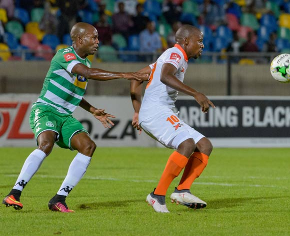 Puleng Tlolane of Polokwane City and Tlou Molekwane of Bloemfontein Celtic during the Absa Premiership 2017/18 game between Bloemfontein Celtic and Polokwane City at Dr Molemela Stadium, Mangaung on 07 March 2018 © Frikkie Kapp/BackpagePix