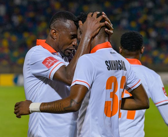 Thapelo Tshilo and Sibusiso Sikhosana of Polokwane City celebrating the second goal during the Absa Premiership 2017/18 game between Bloemfontein Celtic and Polokwane City at Dr Molemela Stadium, Mangaung on 07 March 2018 © Frikkie Kapp/BackpagePix