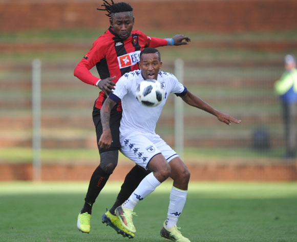 Lehlohonolo Majoro of Bidvest Wits is challenged by Unge Beadrik of Club Desportivo de Agosto  during the CAF Champions League match Bidvest Wits and Club Desportivo de Agosto on 17 March 2018 at Bidvest Stadium  Pic Sydney Mahlangu/BackpagePix