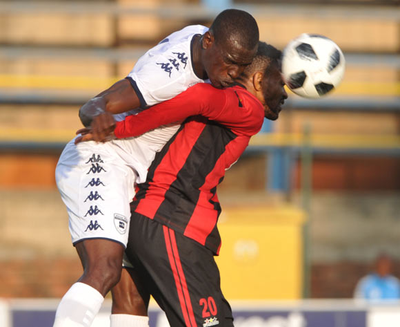 Edwin Gyimah of Bidvest Wits challenges Jacques Bitumba Bakulu of Club Desportivo de Agosto during the CAF Champions League match Bidvest Wits and Club Desportivo de Agosto on 17 March 2018 at Bidvest Stadium  Pic Sydney Mahlangu/BackpagePix