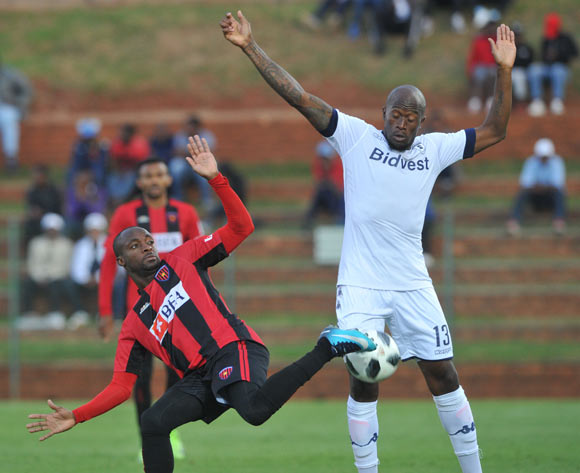 Sifiso Hlanti of Bidvest Wits challenges Hermenegildo Da Costa Paulo Bartolomeu of Club Desportivo de Agosto during the CAF Champions League match Bidvest Wits and Club Desportivo de Agosto on 17 March 2018 at Bidvest Stadium  Pic Sydney Mahlangu/BackpagePix