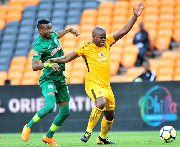 Willard Katsande of Kaizer Chiefs challenged by Ovidy Karuru of AmaZulu during the Absa Premiership 2017/18 match between Kaizer Chiefs and AmaZulu at FNB Stadium, Johannesburg on 17 March 2018 ©Samuel Shivambu/BackpagePix