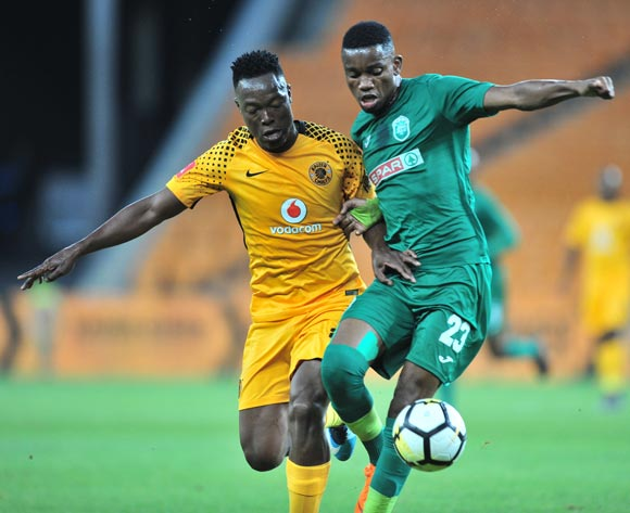 Ovidy Karuru of AmaZulu challenged by Philani Zulu of Kaizer Chiefs during the Absa Premiership 2017/18 match between Kaizer Chiefs and AmaZulu at FNB Stadium, Johannesburg on 17 March 2018 ©Samuel Shivambu/BackpagePix