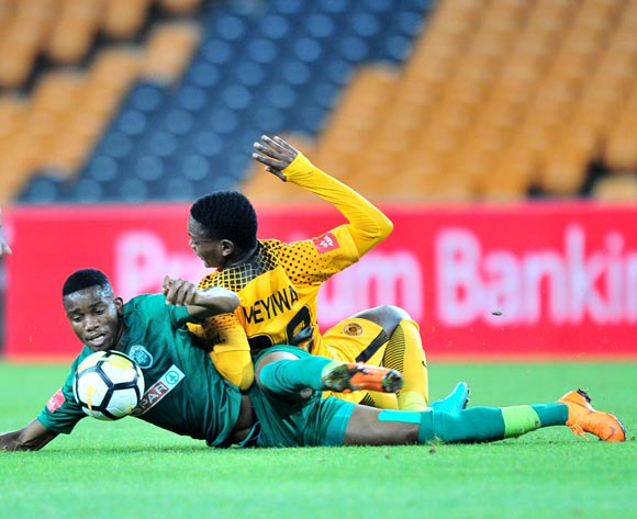Ovidy Karuru of AmaZulu challenged by Wiseman Meyiwa of Kaizer Chiefs during the Absa Premiership 2017/18 match between Kaizer Chiefs and AmaZulu at FNB Stadium, Johannesburg on 17 March 2018 ©Samuel Shivambu/BackpagePix