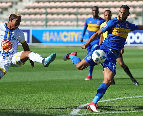 Taariq Fielies of Cape Town City challenged by Terrence Ltisdell of Costa Do Sol during the 2018 CAF Confederation Cup, First Round, 2nd Leg between Cape Town City FC and Costa Do Sol at Athlone Stadium, 18 March 2018 ©Chris Ricco/BackpagePix