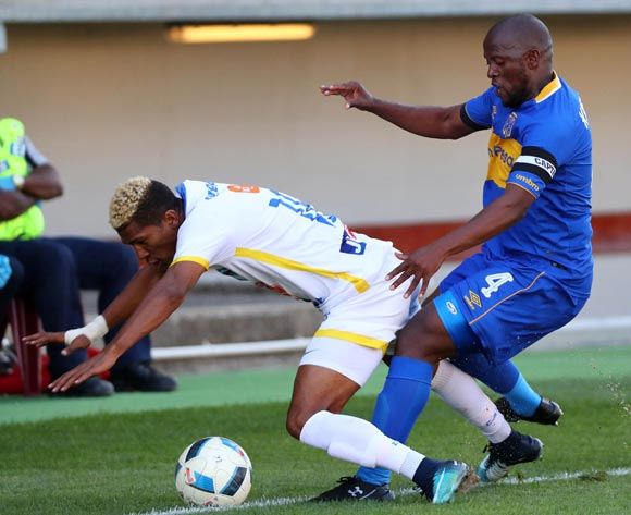 Vincent Kobola of Cape Town City battles for the ball with Terrence Ltisdell of Costa Do Sol during the 2018 CAF Confederation Cup, First Round, 2nd Leg between Cape Town City FC and Costa Do Sol at Athlone Stadium, 18 March 2018 ©Chris Ricco/BackpagePix