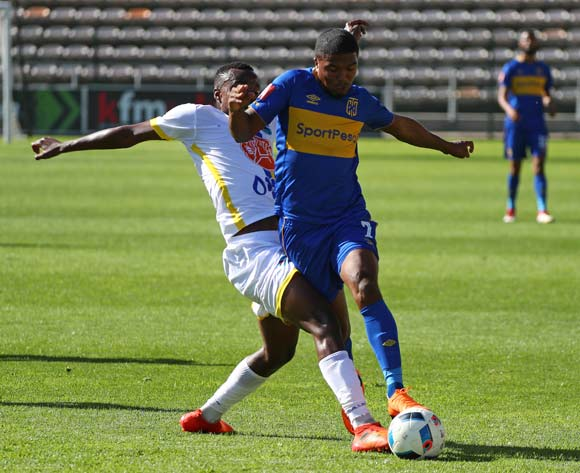 Lyle Lakay of Cape Town City tackled by Salomao Mondlane of Costa Do Sol during the 2018 CAF Confederation Cup, First Round, 2nd Leg between Cape Town City FC and Costa Do Sol at Athlone Stadium, 18 March 2018 ©Chris Ricco/BackpagePix
