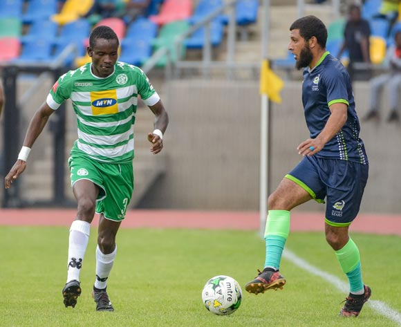 Ronald Pfumbidzai of Bloemfontein Celtic and Riyaad Norodien of Platinum Stars during the Absa Premiership 2017/18 game between Bloemfontein Celtic and Platinum Stars at Dr Molemela Stadium, Mangaung on 18 March 2018 © Frikkie Kapp/BackpagePix