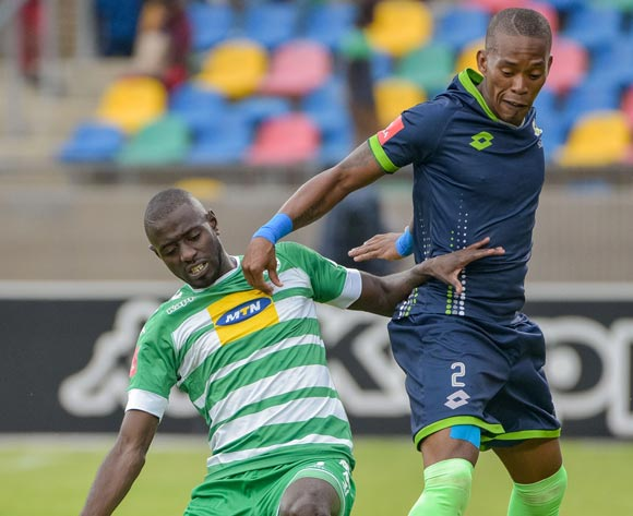 Deon Hotto of Bloemfontein Celtic and Vuyo Mere of Platinum Stars during the Absa Premiership 2017/18 game between Bloemfontein Celtic and Platinum Stars at Dr Molemela Stadium, Mangaung on 18 March 2018 © Frikkie Kapp/BackpagePix