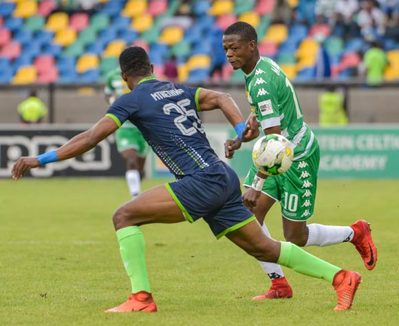 Ndumiso Mabena of Bloemfontein Celtic and Sibusiso Mthethwa of Platinum Stars during the Absa Premiership 2017/18 game between Bloemfontein Celtic and Platinum Stars at Dr Molemela Stadium, Mangaung on 18 March 2018 © Frikkie Kapp/BackpagePix