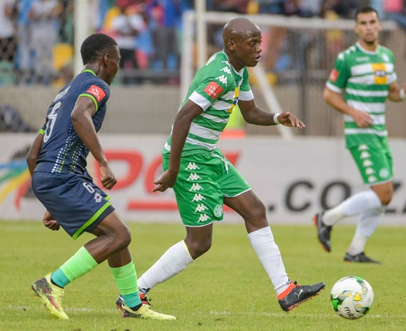 Kabelo Dlamini of Bloemfontein Celtic and Charles Baloyi of Platinum Stars during the Absa Premiership 2017/18 game between Bloemfontein Celtic and Platinum Stars at Dr Molemela Stadium, Mangaung on 18 March 2018 © Frikkie Kapp/BackpagePix