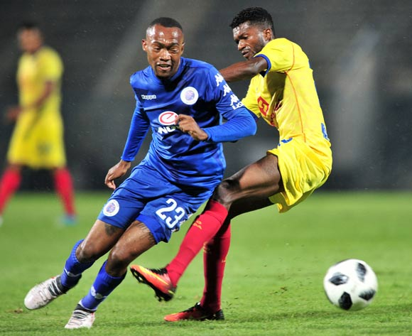 Thabo Mnyamane of Supersport United challenged by Herenilson of Atletico Petro during the 2018 Caf Confederations Cup match between Supersport United and Atletico Petro at Lucas Moripe Stadium, Pretoria on 16 March 2018 ©Samuel Shivambu/BackpagePix