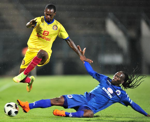 Mira of Atletico Petro tackled by Reneilwe Letsholonyane of Supersport United during the 2018 Caf Confederations Cup match between Supersport United and Atletico Petro at Lucas Moripe Stadium, Pretoria on 16 March 2018 ©Samuel Shivambu/BackpagePix