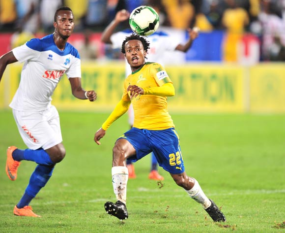 Percy Tau of Mamelodi Sundowns challenged by Lesengimana Faustin of Rayon Sport during the 2018 CAF Confederations Cup match between Mamelodi Sundowns and Rayon Sports at Loftus Versfeld Stadium, Pretoria on 18 March 2018 ©Samuel Shivambu/BackpagePix